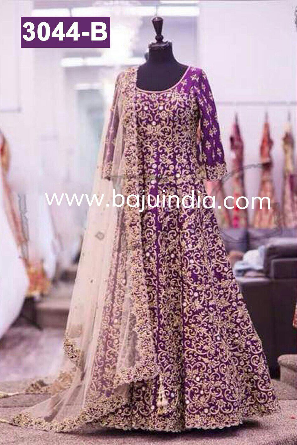Baju India Muslim - Baju India Modern - Baju Khas India - Baju Adat India - Sari India Terbaru - Sari India Muslim - Baju Kerajaan India - Baju Salwaar India -  3044 - B