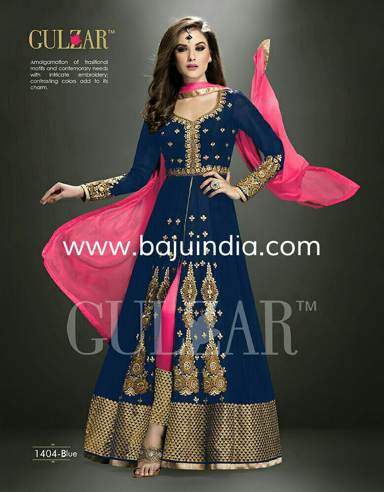 Baju India Muslim - Baju India Modern - Baju Khas India - Baju Adat India - Sari India Terbaru - Sari India Muslim - Baju Kerajaan India - Baju Salwaar India - GULZAR 1404-Blue