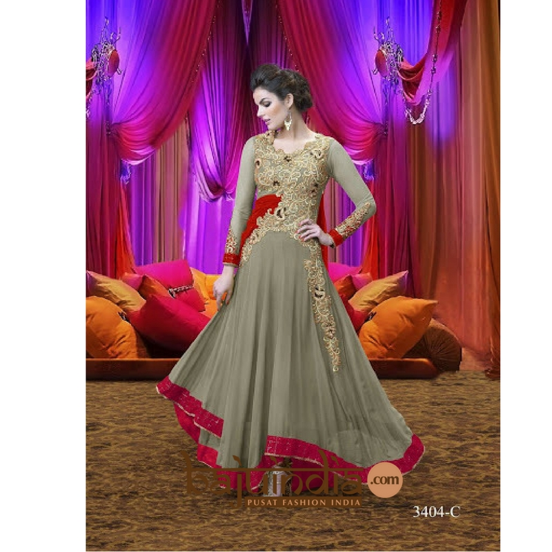 Baju India Muslim - Baju India Modern - Baju Khas India - Baju Adat India - Sari India Terbaru - Sari India Muslim - Baju Kerajaan India - Baju Salwaar India –  Sale - 3404-C