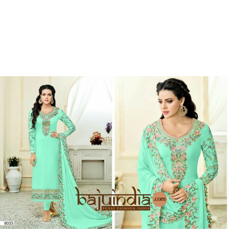 Baju India Muslim - Baju India Modern - Baju Khas India - Baju Adat India - Sari India Terbaru - Sari India Muslim - Baju Kerajaan India - Baju Salwaar India –  Embriodery - 8033