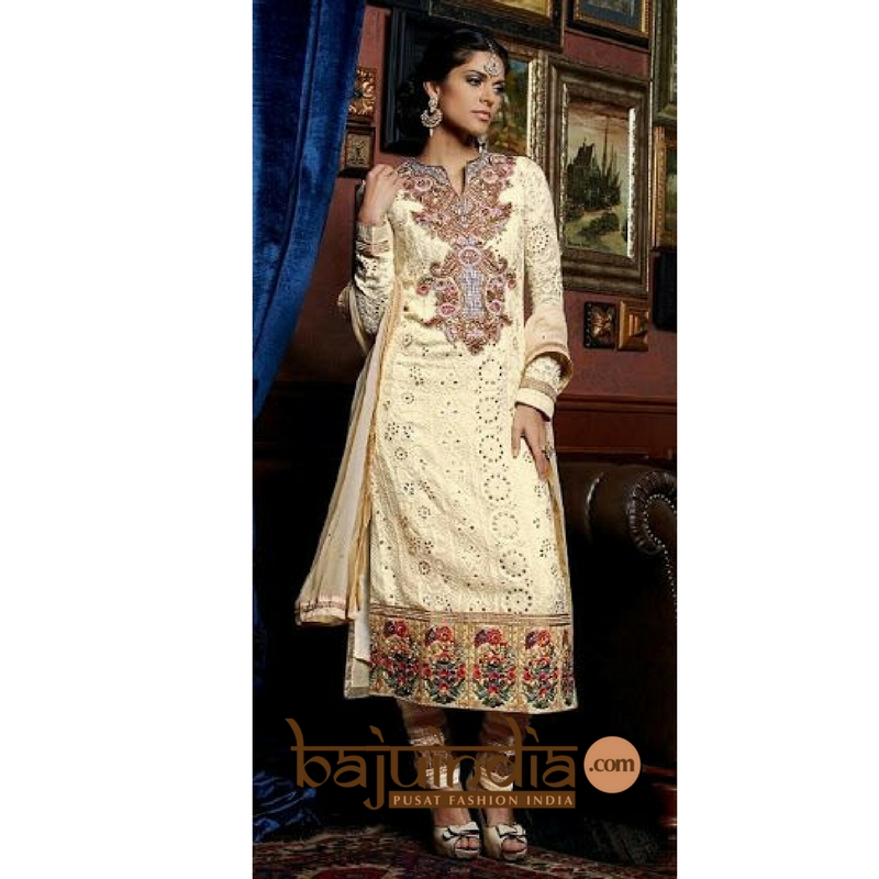 Baju India Muslim - Baju India Modern - Baju Khas India - Baju Adat India - Sari India Terbaru - Sari India Muslim - Baju Kerajaan India - Baju Salwaar India – Kimora - 122 Peach