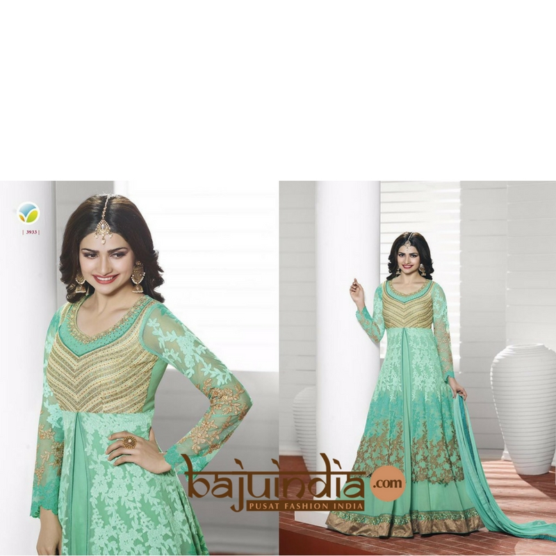 Baju India Muslim - Baju India Modern - Baju Khas India - Baju Adat India - Sari India Terbaru - Sari India Muslim - Baju Kerajaan India - Baju Salwaar India –  L - 3933