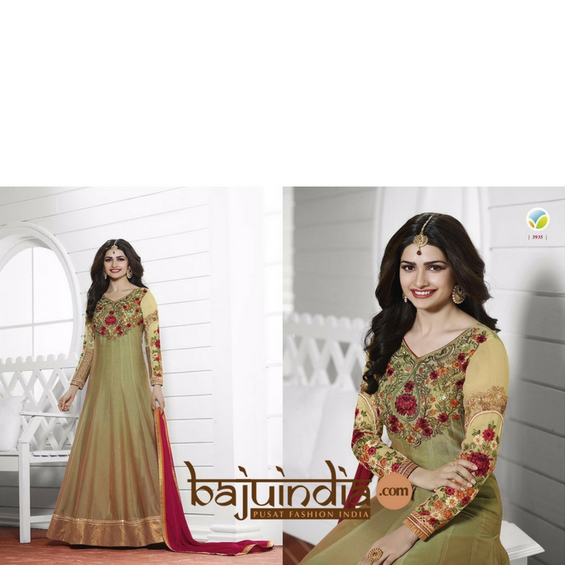 Baju India Muslim - Baju India Modern - Baju Khas India - Baju Adat India - Sari India Terbaru - Sari India Muslim - Baju Kerajaan India - Baju Salwaar India –  L - 3935