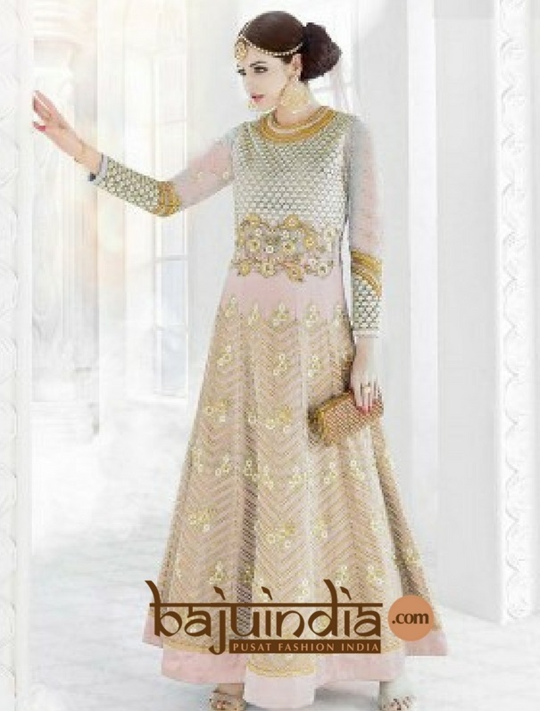 Baju India Muslim - Baju India Modern - Baju Khas India - Baju Adat India - Sari India Terbaru - Sari India Muslim - Baju Kerajaan India - Baju Salwaar India –   BI - Peach 004