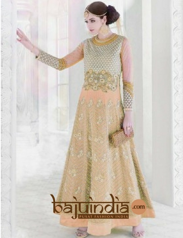Baju India Muslim - Baju India Modern - Baju Khas India - Baju Adat India - Sari India Terbaru - Sari India Muslim - Baju Kerajaan India - Baju Salwaar India – BI - cream 003