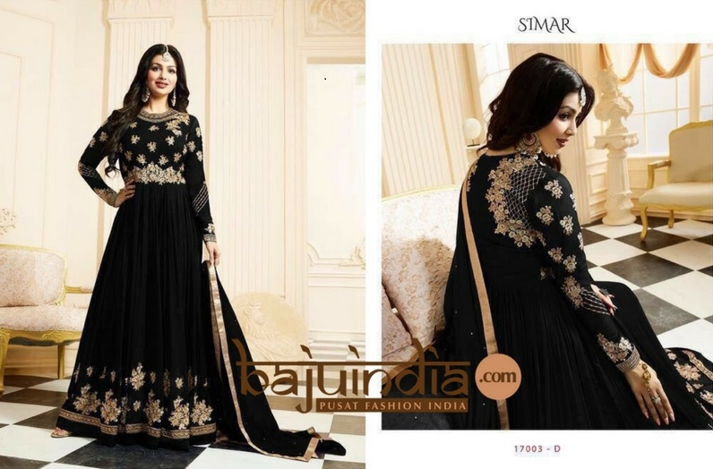 Baju India Muslim - Baju India Modern - Baju Khas India - Baju Adat India - Sari India Terbaru - Sari India Muslim - Baju Kerajaan India - Baju Salwaar India –  Simar - 17003 - D Black