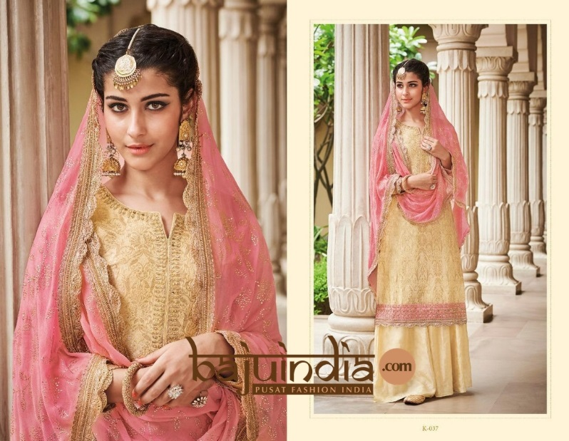 Baju India Muslim - Baju India Modern - Baju Khas India - Baju Adat India - Sari India Terbaru - Sari India Muslim - Baju Kerajaan India - Baju Salwaar India –   K-037 cream pink